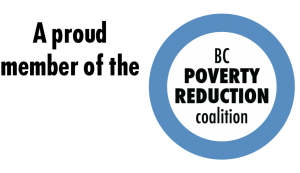"Text ""A proud member of the"" beside the BC Poverty Reduction logo, black text in white inner space of a blue outlined circle."