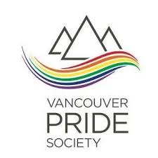 Vancouver Pride Society logo of rainbow wave under three triangle mountains