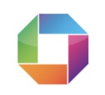 Blue, purple, orange and green rectangles with one sloped end are joined together to create a circle.