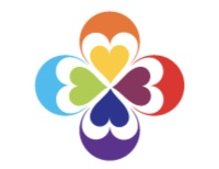 Four hearts joining together at the tip with half circles surrounding them. It looks like a rainbow flower.