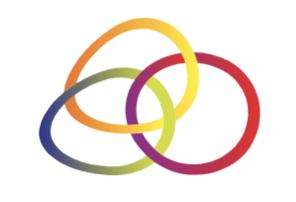 Three rainbow coloured interlocking rings.