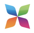 Pinwheel with four arms in green, blue, purple, and orange.